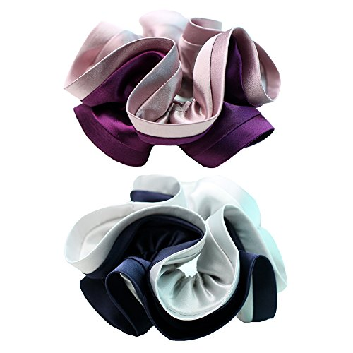 Wenobby 2 Count Premium Silk and Satin Ouchless Scrunchies,Durable Elastics Hair Tie Hair Bands for Women Girls With Elegant and Vintage Style