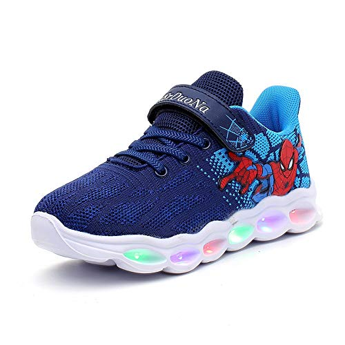 ANKIDS Marvel Spider-Man Light Up Sneaker Kids Boys Flashing Shoes Blue (11 Little Kid) -