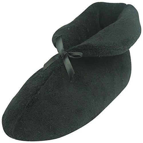 Pantofole Bootie Delle Donne Forfoot, Inverno Caldo Accogliente In Pile Di Corallo Antiscivolo Scarpe Da Casa Al Coperto Nero
