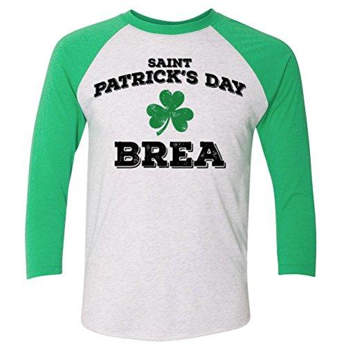 ShirtScope ST Patrick's Day Brea CA Baseball Raglan Shirt - Brea Ca
