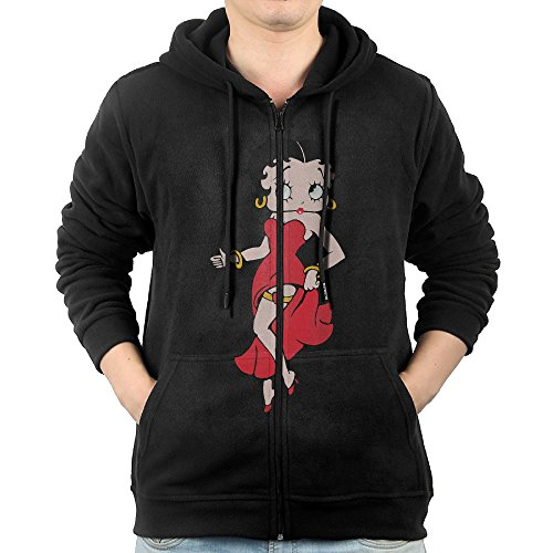 [JLJK Men's Black Betty Boop Zip-Up Hooded Sweatshirt Jackets Black Size L] (Betty Boop Plus Size Costumes)