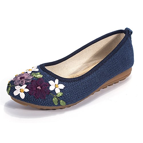 Women's Flats Shoes Flower Embroidery Round Toe Casual Slip On by FUT (Image #4)