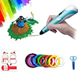3D Pen, 3D Doodler Drawing Printing Pen Children Birthday Gifts Art Crafts DIY for Kids and Adults Birthday Present with Filament Refills 10 Color 1.75mm PlA 16 Ft Each (3D Pen Set)