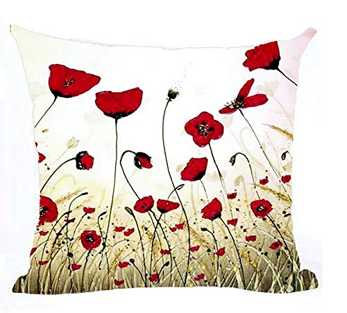 (Bnitoam Charming Red Poppy Throw Pillow Case Cushion Cover Decorative Cotton Blend Linen Pillowcase for Sofa 18