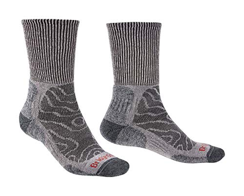 Bridgedale Men's Lightweight Boot Height - Merino Comfort Socks, Grey, X-Large ()