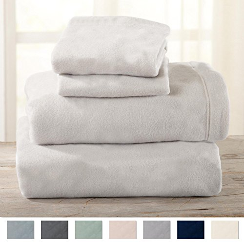 Price comparison product image Maya Collection Super Soft Extra Plush Polar Fleece Sheet Set. Cozy, Warm, Durable, Smooth, Breathable Winter Sheets in Solid Colors. By Home Fashion Designs Brand. (Queen, Light Grey)
