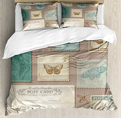 Vintage Duvet Cover Set King Size by Lunarable, Postcard and Postage Stamps with Butterflies and Dragonfly, Decorative 3 Piece Bedding Set with 2 Pillow Shams, Warm Taupe Turquoise Pale Yellow