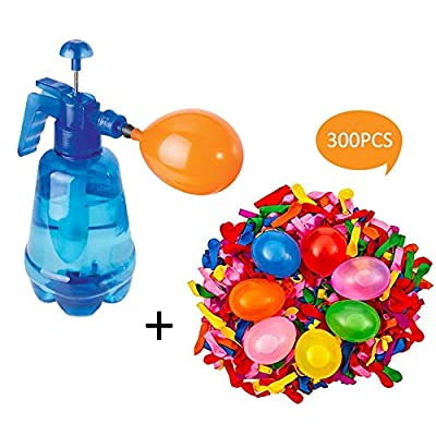 Sanmubo Pump Water Spray Bottle with Ballon,Blue Children Water Balloon Portable Filling Station 3 in 1 Pump Spray Bottle Manual Water Inflation Ball Toy Balloon 300 Pieces Set: Home & Kitchen