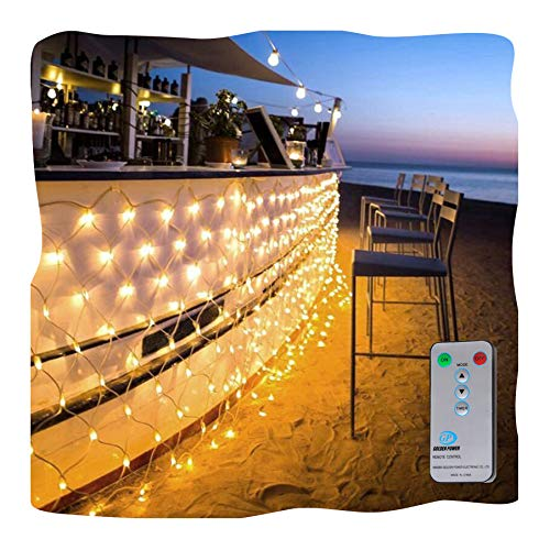 Ollny LED Fairy String Decorative Net Lights Net Mesh Treewrap Lights Low Voltage for Christmas Wedding Garden Outdoor Decorations with Remote Warm White 200 LEDs 98ft x 66ft