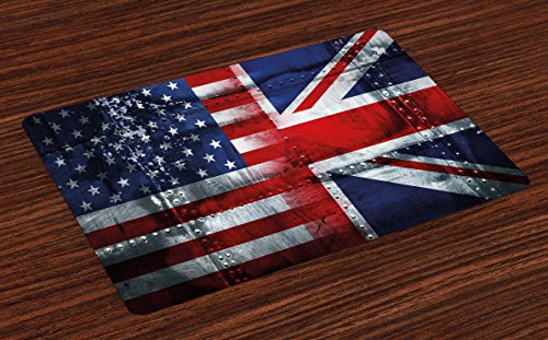 Ambesonne Union Jack Place Mats Set of 4, Alliance Togetherness Theme Composition of UK and USA Flags Vintage, Washable Fabric Placemats for Dining Table, Standard Size, Navy Blue (Cheap Uk Patio Sets)