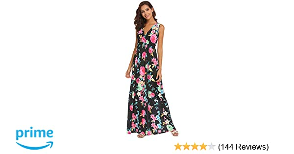 153fcc6ac42b Amazon.com: Sherosa Women's Summer Floral Printed V Neck Sleeveless Maxi  Casual Dress: Clothing