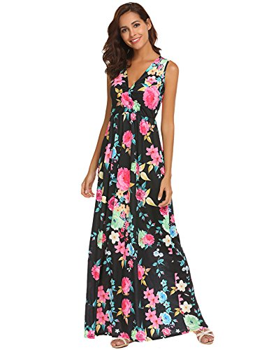 Sherosa Women's Floral Print V Neck Sleeveless Long Maxi Casual Dress (Black, (Spandex V-neck Skirt)