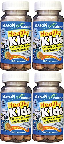 Mason Vitamins Healthy Kids Cod Liver Oil and Vitamin D, Tasty Chewable Orange Flavor, 100 Tablets per Bottle Pack of 4 Total 400 Tablets