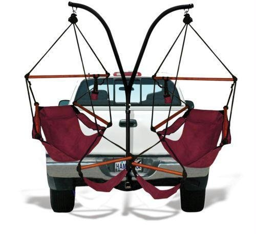 (Hammaka Trailer Hitch Stand and 2 Burgundy Chairs Combo - Wood Dowels)