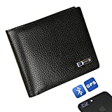 Smart LB Anti-Lost Wallet Bifold Cowhide Leather Purse with Alarm, GPS Tracking, Bluetooth (Black)