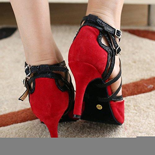 Dance Fashion K6132 Ballroom Fashion Suede Womens Red Shoes Strappy Kevin Latin TxAq4ww