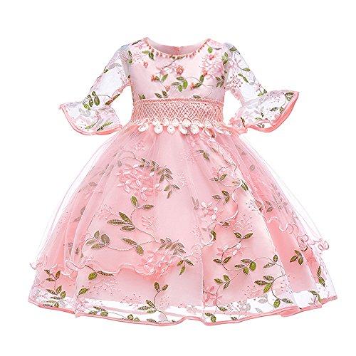 ZHANGVIP Kids Baby Girl Floral Lace Flare Sleeve Formal Elegant Evening Party Wedding Princess Tutu Long Dress(3-7T) (7T, Pink)