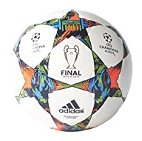 adidas Performance Finale Berlin Capitano Soccer Ball, White/Solar Blue/Flash Green, Size 4