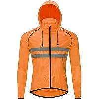 WOSAWE Chaqueta de ciclismo ligera, de alta visibilidad con sombrero desmontable, transpirable, para escalada…
