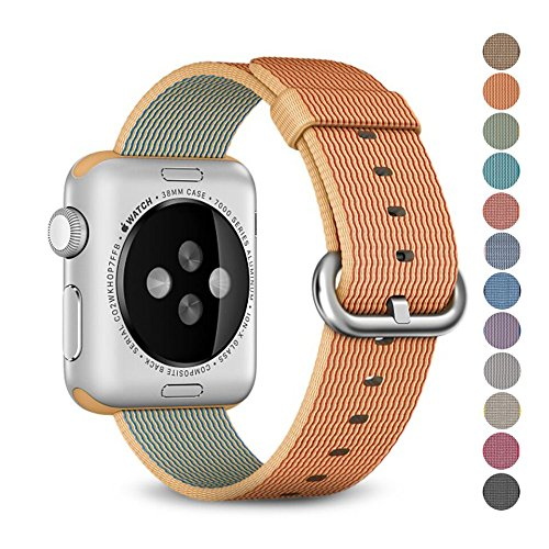 Woven Nylon Replacement Band for the Apple Watch by Pantheon, Women's or Men's, Strap fits the 38mm or 42mm for Apple iWatch 1, 2, 3 and Nike edition (42 Mm Water)