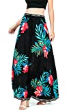 "Jewel tone colors and bold prints make this maxi skirt a definite eye catcher. Comfortable elastic waist band with a faux drawstring string tie. Unique piece that can also be worn as an A-line dress. The ""Ivory"" and ""Black"" color skirt fall u..."