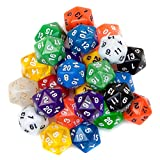 25 Pack of Random D20 Polyhedral Dice in Multiple Colors by Wiz Dice
