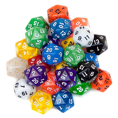 25 Pack of Random D20 Polyhedral Dice in Multiple Colors for sale  Delivered anywhere in USA
