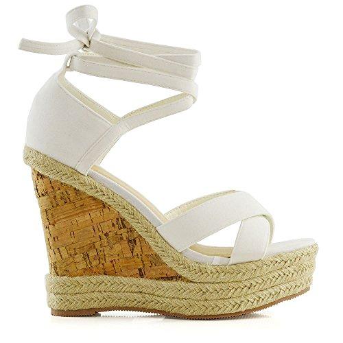 ESSEX GLAM Womens Platform Wedge Espadrilles Lace Tie up Sandals Ladies Summer Shoes White Faux Suede IVEASLU