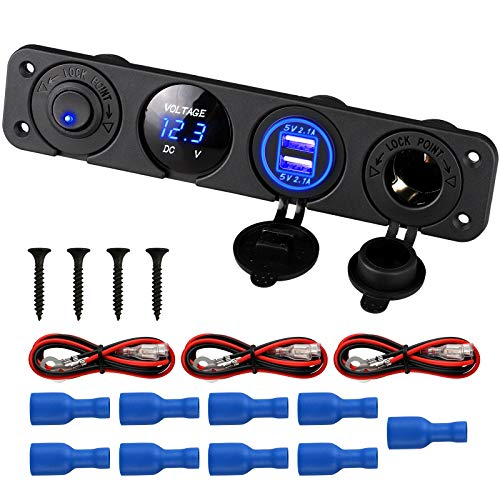 - Linkstyle 4 in 1 Marine Switch Panel, 12V 4.2A Dual USB Charger Socket Power Outlet & LED Voltmeter & Cigarette Lighter Socket & LED Lighted ON Off Rocker Toggle Switch for Truck Car Marine Boat RV