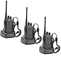 Ammiy BaoFeng BF-888S Rechargeable Battery Long Range 5W Walkie Talkies 16 Channels two way radios (3 pack of radios)