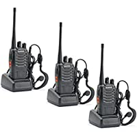 3 Pack Walkie Talkie 16CH Signal Band UHF 400-470 MHz Ammiy baofeng BF-888s Rechargeable Two Way Radio Long Range Headset Built in LED Torch with Wall Charger(3 Pack of Radios)