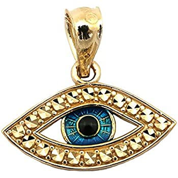 Amazon 14k yellow gold evil eye charm pendant jewelry beauniq 14k yellow gold blue enamel diamond cut evil eye pendant aloadofball Gallery