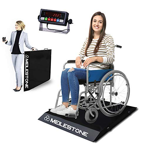 MEILESTONE MS-1000WCS 1000lb Ultra-Portable Light Weight Floor Wheelchair Scale | All-Metal Construction and Platform with Dual Ramp Medical Electronic