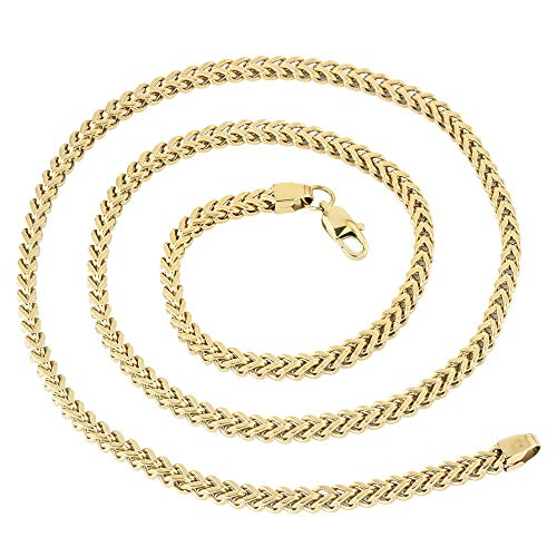 (GOLD IDEA JEWELRY 18-30 Inches Franco Link Chain 14k Gold Plated Mens Stainless Steel Necklace (22, 2.5mm))