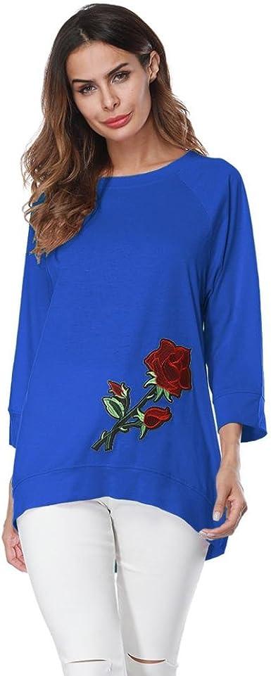 Bordados Blusa Rosa, Covermason Blusa Casual de Manga Larga para Mujer: Amazon.es: Ropa y accesorios