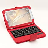 SUPERNIGHT Removable Wireless Bluetooth ABS QWERTY Keyboard PU Leather Case Cover with Stand for Samsung Galaxy Note 8.0 N5100 N5110 Tablet.Color:Red