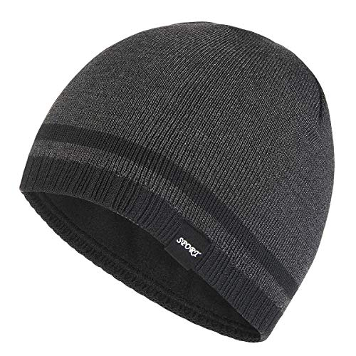 Bodvera Mens Winter Beanie Hat Warm Knit Cuffed Plain Toboggan Ski Skull Cap (Carbonarius) ()