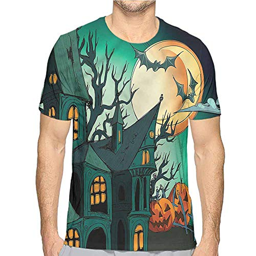 t Shirt Halloween,Halloween Haunted Castle Printed t Shirt S -