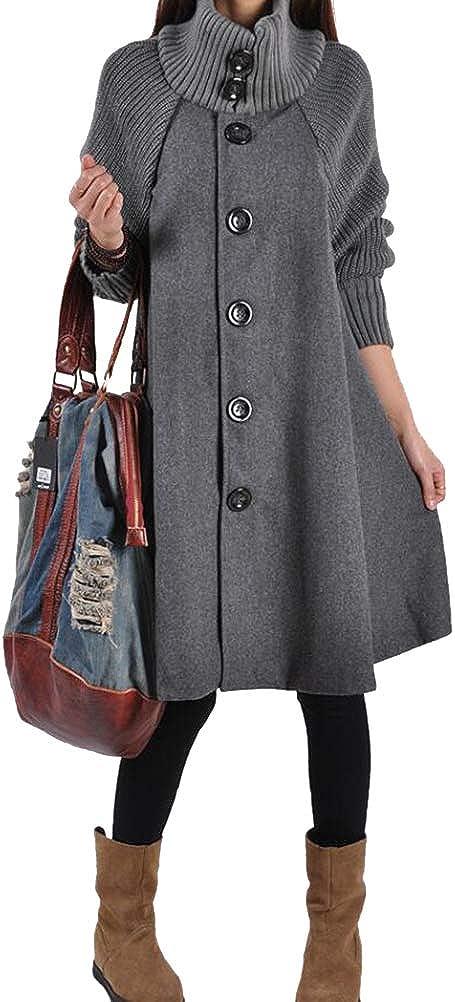 Shanenxn Womens Casual Long Sleeve Standing Collar Solid Color Woolen Cloak Windbreaker Outwear
