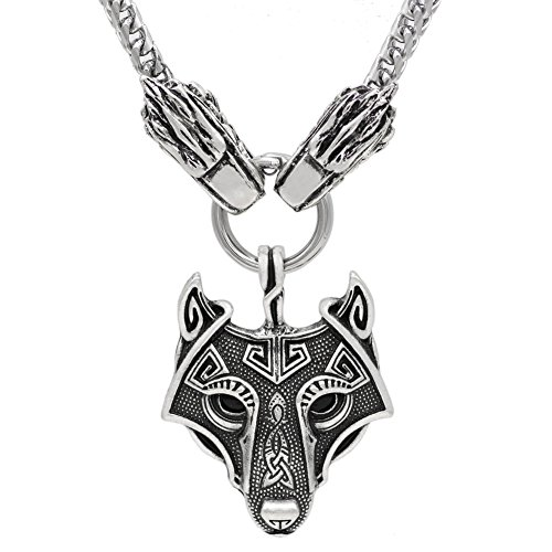 - xicoh Viking Wolf Head With Odin Wolf Pendant NECKLACE - Stainless Steel Chain