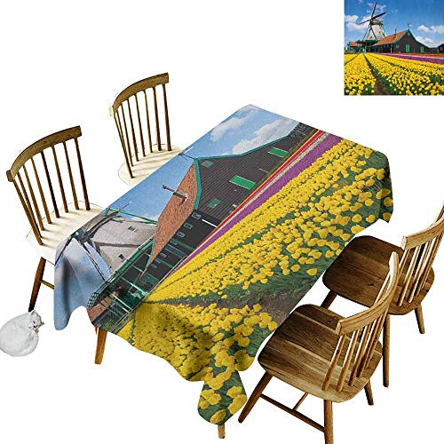 - DONEECKL Windmill Easy to Clean Tablecloth Will not Fade Rustic Dutch Landscape with Colorful Yellow Tulips in The European Countryside Multicolor W70 xL120