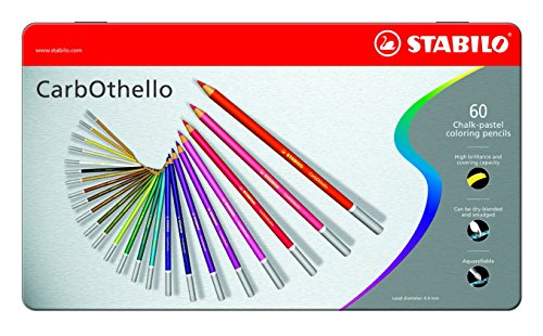 Stabilo CarbOthello Chalk-Pastel Colored Pencil, 4.4 mm - 60-Color (Pastel Pencil)