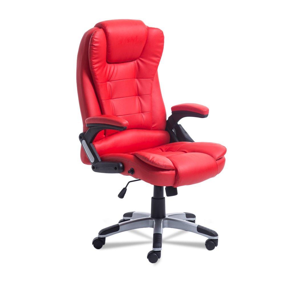 Belovedkai Office Computer Desk Massage Chair Executive Ergonomic Chair 360 Degree Height Adjustable 6 Point Massage Chair (Red)