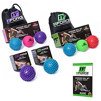 11FORCE Massage Ball Set or Single, Lacrosse and Spiky Balls, Best for Physical Therapy, Foot Massager, Acupressure, Deep Tissue, Reflexology, Myofascial Release, Pressure & Trigger Points, FREE BOOK