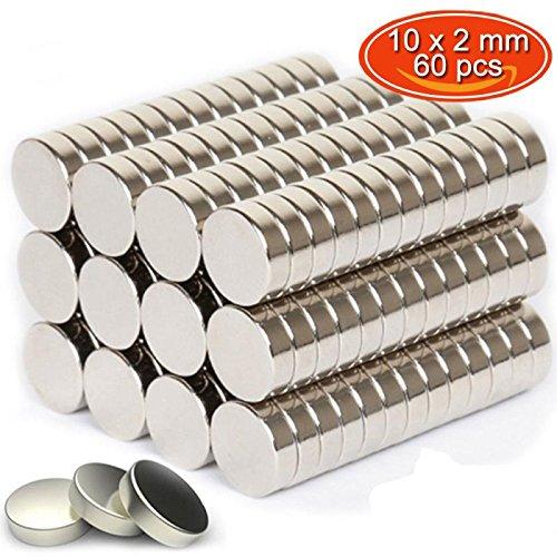 [해외]GogoTool 자석 네오디뮴 10mm×2mm 원형 평면 자석 지도 및 화이트 보드 냉장고에 적합 (60 개입) / Gogotool Magnet neodymium 10mm × 2mm round thin magnet map and white board for Refrigerator (60 pcs)