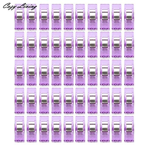 Zoomy Far Sewing Machine Tools 50 PCS Clear Sewing Craft Quilt Binding Plastic Clips Clamps Pack Sewing Accessories Portable D15: -