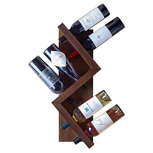 Tandm Pine Wood, 6 Bottle Edison Wall Wine Rack