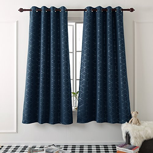 Cheap Deconovo Sliver Diamond Foil Print Thermal Insulated Blackout Curtains Room Darkening Grommet Curtain Panels for Living Room 52 Inch by 84 Inch Navy Blue Set of 2