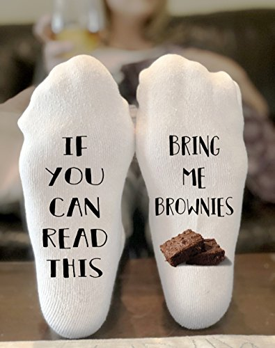 If You Can Read This Bring Me Brownies Novelty Funky Crew Socks Men Women Christmas Gifts Cotton Slipper Socks