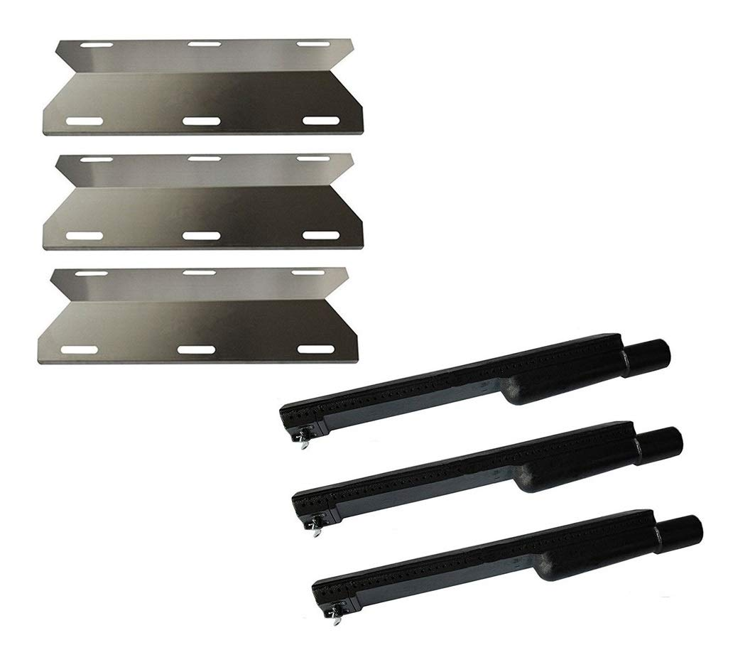 Hongso Gas Grill Stainless Steel Heat Plate Shield and Cast Iron Burner Repair Kit Replacement for Jenn Air 720-0061, 3 Pack (CBF301, SPA231) by Hongso